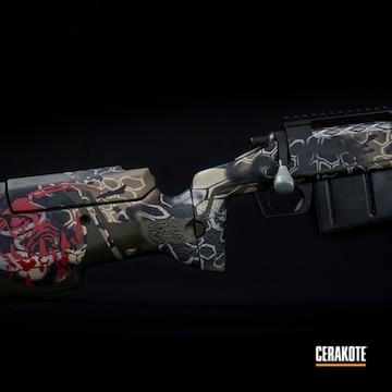Custom Rifle Cerakoted Using Crimson, Desert Sage And Battleship Grey