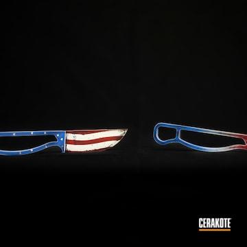 Custom Knives Cerakoted Using Crimson, Bright White And Nra Blue