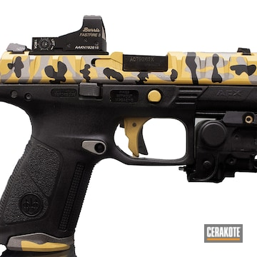 9mm Beretta Apx Cerakoted Using Gun Metal Grey, Armor Black And Gold