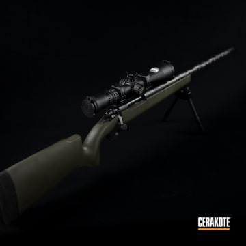 Bolt Action Rifle Cerakoted Using Magpul® O.d. Green And Graphite Black