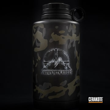 Multicam Smr Tumbler Cerakoted Using Cobalt Kinetics™ Green, Bright White And Graphite Black