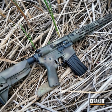 Multicam Bcm Ar-15 Cerakoted Using Plum Brown, Coyote Tan And O.d. Green
