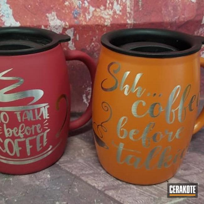 Custom Coffee Mugs Cerakoted Using Terra Cotta And Sedona