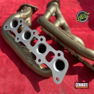 Exhaust Headers Cerakoted Using Burnt Bronze