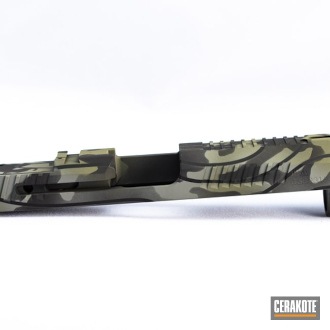 Cz Slide Cerakoted Using Forest Green, Graphite Black And Smith & Wesson® Grey