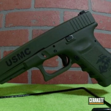 Glock Cerakoted Using Graphite Black And O.d. Green