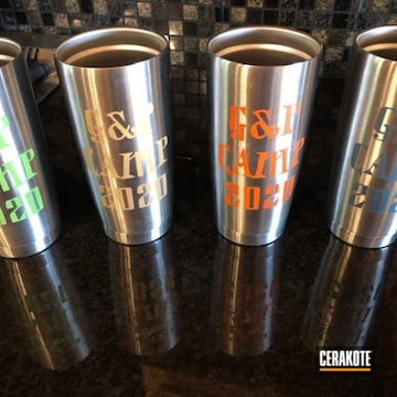 Custom Aluminum Mugs Cerakoted Using Hunter Orange, Zombie Green And Corvette Yellow