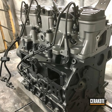 Land Rover Defender 300 Tdi Engine Cerakoted Using Arctic Black (oven Cure), Concrete And Blackout