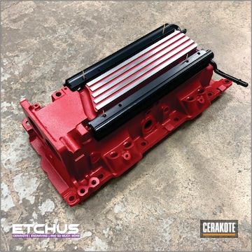 Refinished Intake And Fuel Rail Setup Cerakoted Using Ruby Red And Blackout