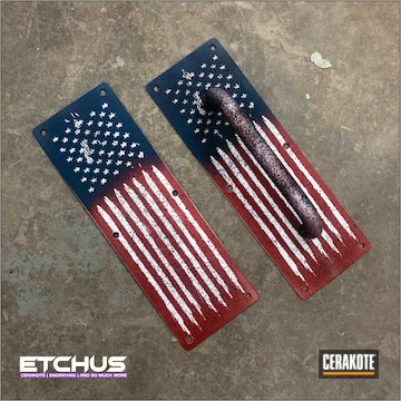 United States Flag Custom Workshop Door Handles Cerakoted Using Hidden White, Kel-tec® Navy Blue And Usmc Red