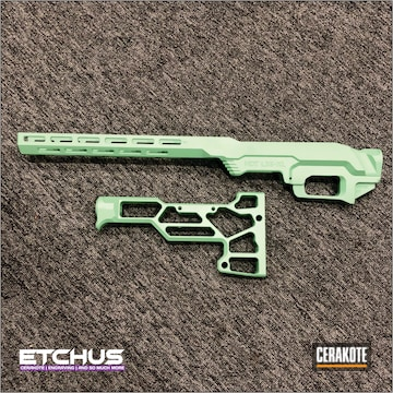 Mdt Lss-xl Chassis And Stock Cerakoted Using Squatch Green, Stormtrooper White And Parakeet Green