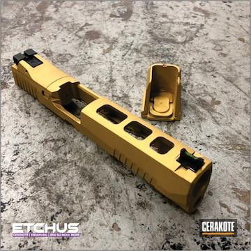 Custom Slide And Sight Cerakoted Using Gold