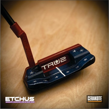 True2golf Putter Cerakoted Using Hidden White, Kel-tec® Navy Blue And Usmc Red