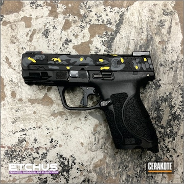 Custom Camo M&p Cerakoted Using Sunflower, Sniper Grey And Graphite Black