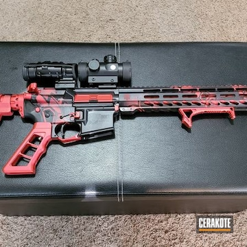 Custom Ar Cerakoted Using Magpul® Stealth Grey, Habanero Red And Graphite Black