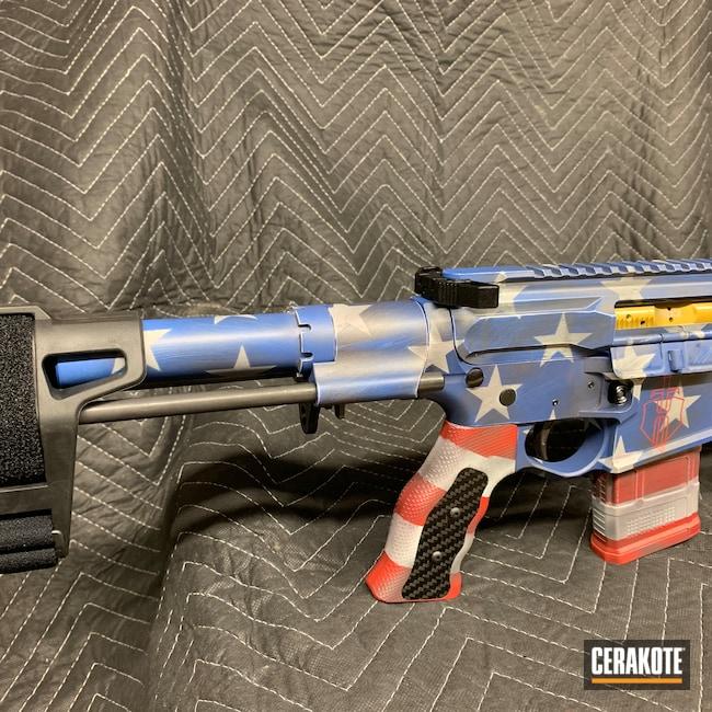 Cerakoted: S.H.O.T,AR Pistol,NRA Blue H-171,Custom,FROST H-312,American Flag,BATTLESHIP GREY H-213,HABANERO RED H-318,Sword and Shield,.300 Blackout