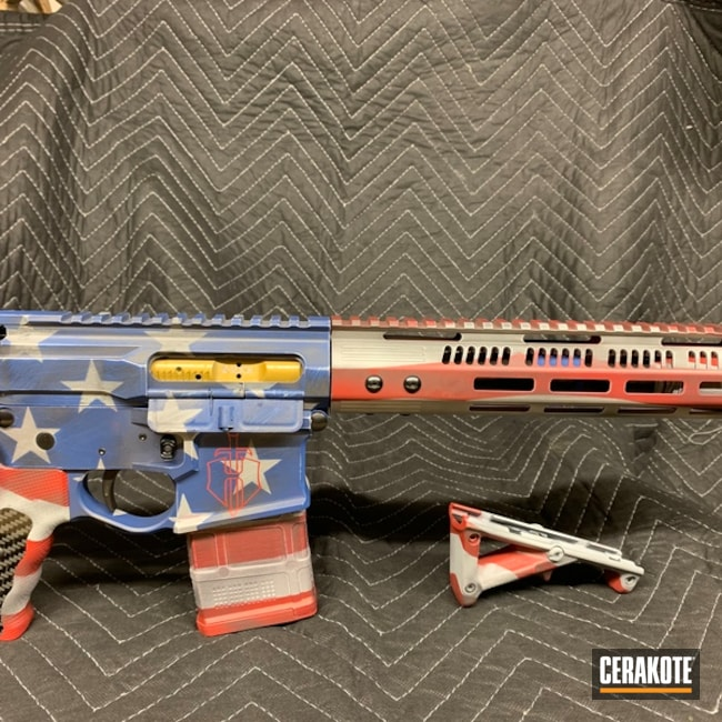 United States Flag Ar-15 Cerakoted Using Frost, Habanero Red And Battleship Grey