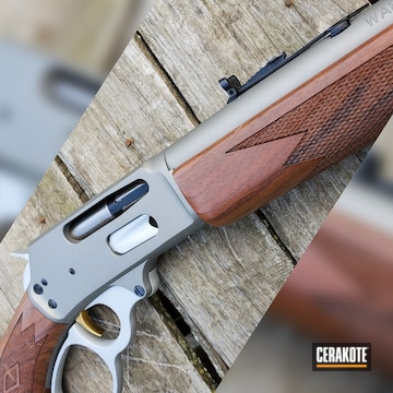 Marlin Lever Action Rifle Cerakoted Using Satin Aluminum And Titanium