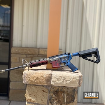 Texas Flag M6 Rifle Cerakoted Using Usmc Red, Nra Blue And Magpul® Flat Dark Earth