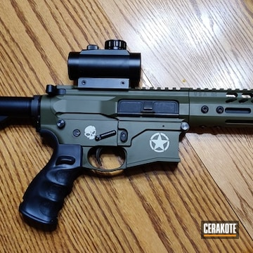 Ar Cerakoted Using Hidden White And Mil Spec O.d. Green