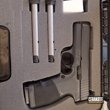 Kahr Arms Pistol Cerakoted Using Armor Black, Sniper Grey And Micro Slick Dry Film Lubricant Coating (oven Cure)