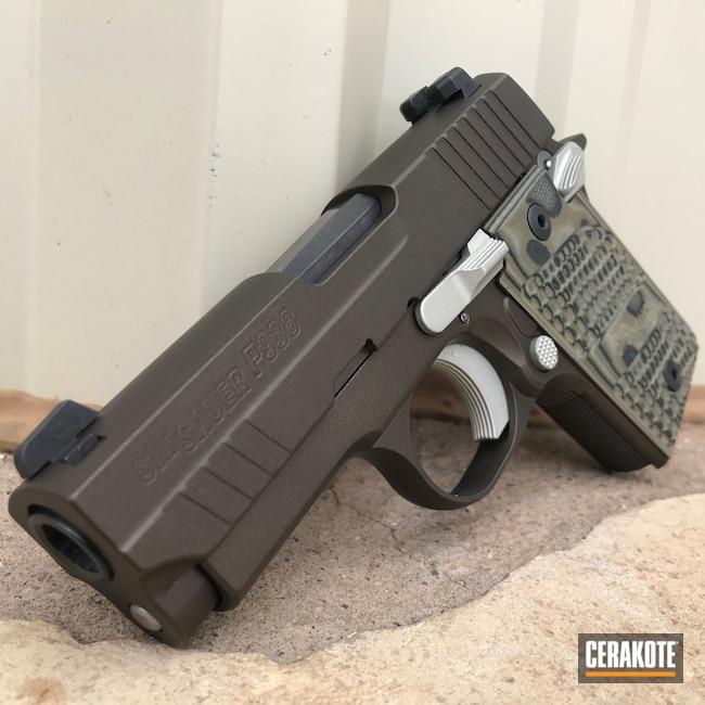 Cerakoted: S.H.O.T,9mm,p938,Pistol,Sig Sauer,Midnight Bronze H-294,Bright Nickel H-157,EDC