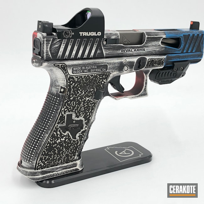 Cerakoted: S.H.O.T,Laser Stippled,Come And Take It,USMC Red H-167,Glock 17,Texas Flag,Gucci Glock,Texas,NRA Blue H-171,Texas Cerakote,Snow White H-136,Graphite Black H-146,Glock,Distressed Texas Flag