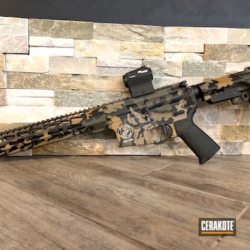 Multicam Arky Armory Aa-15 Cerakoted Using Noveske Tiger Eye Brown, Sniper Green And Graphite Black