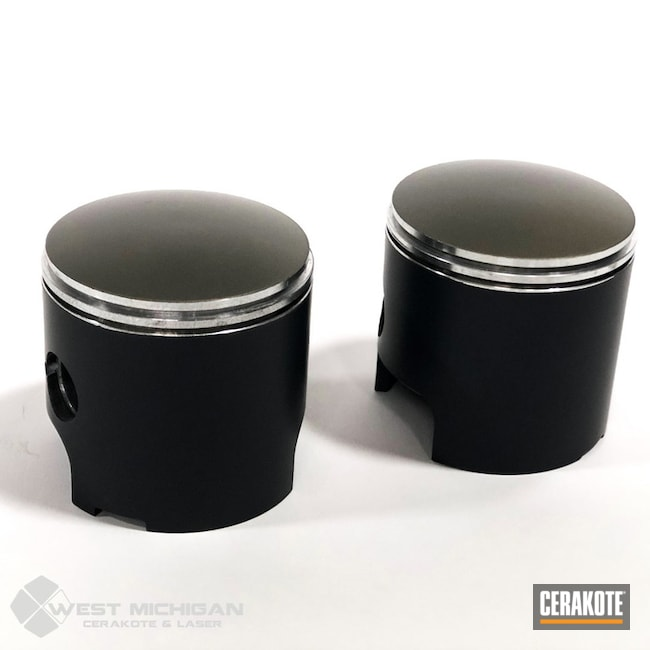 Pistons Cerakoted Using Micro Slick Dry Film Lubricant Coating (air Cure), Piston Coat (oven Cure) And Piston Coat (air Cure)
