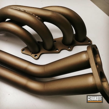 Exhaust Manifold Cerakoted Using Burnt Bronze