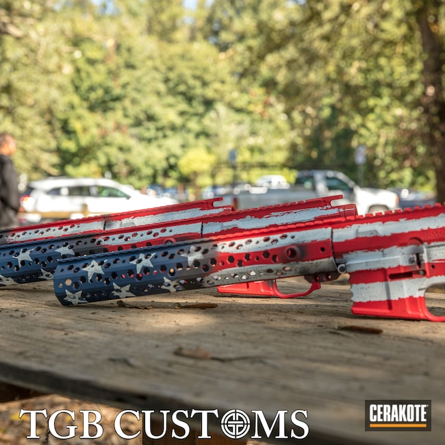 Cerakoted: S.H.O.T,Battleworn,AR15 Builders Kit,Stormtrooper White H-297,Distressed American Flag,USMC Red H-167,Armor Black H-190,American Flag,KEL-TEC® NAVY BLUE H-127,AR-15