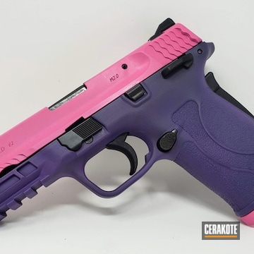Smith & Wesson M&p 380 Shield Ez Cerakoted Using Prison Pink And Bright Purple