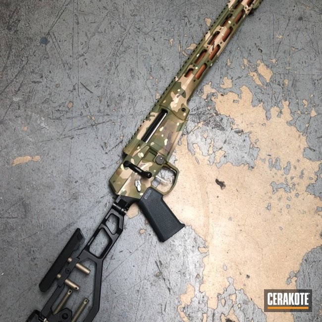 Multicam Rifle Cerakoted Using Desert Sand, Multicam® Pale Green And Benelli® Sand