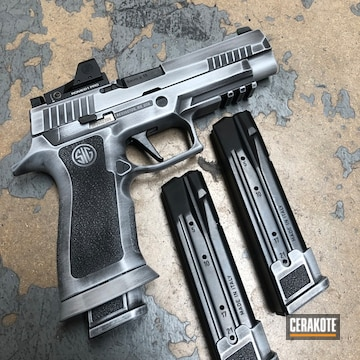 Sig Sauer P320 Cerakoted Using Crushed Silver And Armor Black
