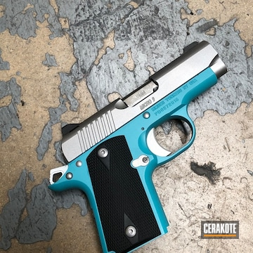Kimber Micro 9 Cerakoted Using Satin Aluminum, Blue Raspberry And Zombie Green