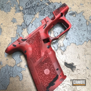 Zev Oz9 Grip Kit Cerakoted Using Crimson, Usmc Red And Sniper Grey