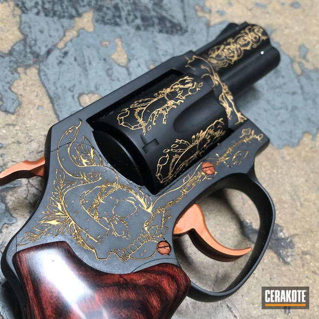 Cerakoted: S.H.O.T,Lady Smith,Color Fill,COPPER SUEDE H-310,Graphite Black H-146,Smith & Wesson,Revolver,Laser Engraved,San Antonio Laser Engraving,Gold H-122