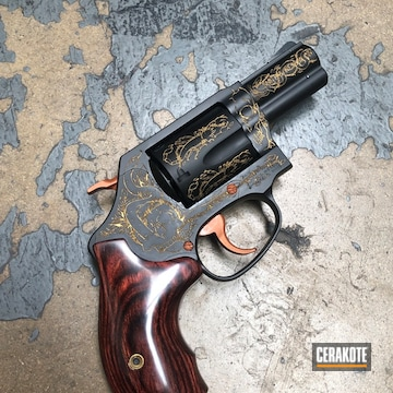 Smith & Wesson Revolver Cerakoted Using Copper Suede, Graphite Black And Gold