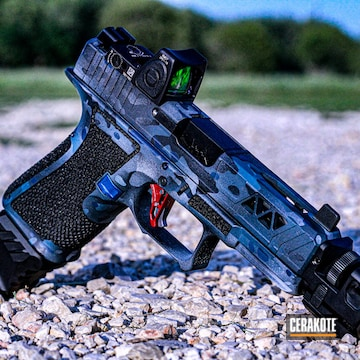 Custom Glock Cerakoted Using Kel-tec® Navy Blue, Satin Aluminum And Socom Blue