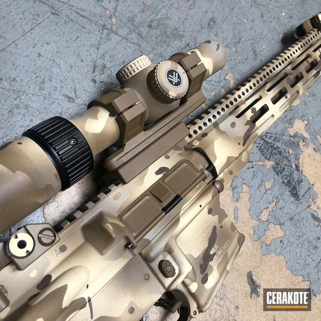 Cerakoted: S.H.O.T,Rifle,Radical Firearms RF-15,Custom Camo,Vortex,Radical Firearms,MultiCam,Scope,Patriot Brown H-226,Camo,BENELLI® SAND H-143,GLOCK® FDE H-261,Chocolate Brown H-258,AR-15