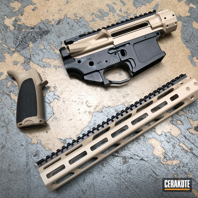 Cerakoted: S.H.O.T,Graphite Black H-146,Grip,Two Tone,MCMILLAN® TAN H-203,Upper / Lower / Handguard,Mega Arms