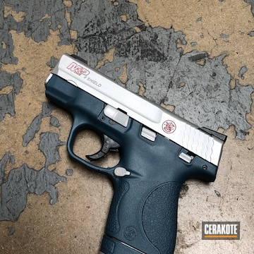 Smith & Wesson M&p Shield 9 Cerakoted Using Satin Aluminum, Ruby Red And Blue Titanium