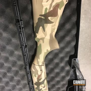Multicam 12 Gauge Benelli Shotgun Cerakoted Using Light Sand, Magpul® O.d. Green And Federal Brown