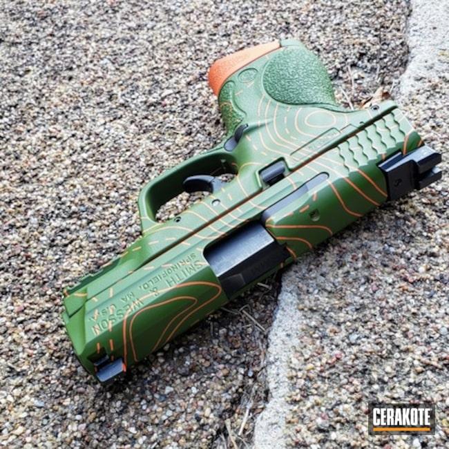 Smith & Wesson M&p Cerakoted Using Hi-vis Orange And Multicam® Bright Green