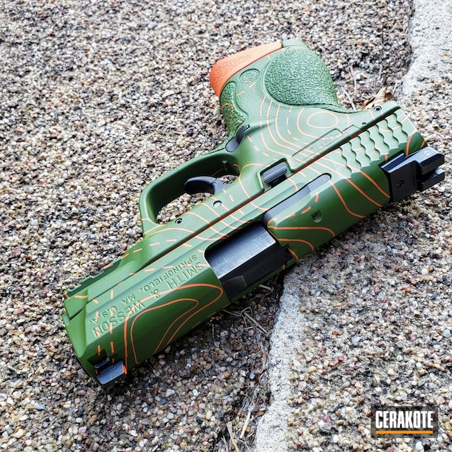 Cerakoted: S.H.O.T,M&P,MULTICAM® BRIGHT GREEN H-343,Smith & Wesson,Pistol,HI-VIS ORANGE H-346,Topographical Map