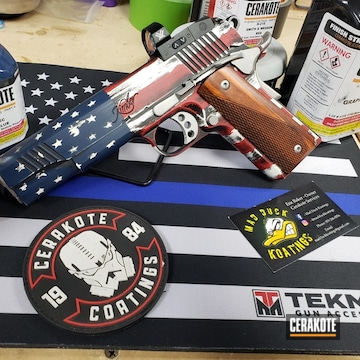 United States Flag Kimber 1911 Cerakoted Using Kel-tec® Navy Blue, Stormtrooper White And Graphite Black