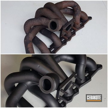 Exhaust Manifold Cerakoted Using Cerakote Glacier Black