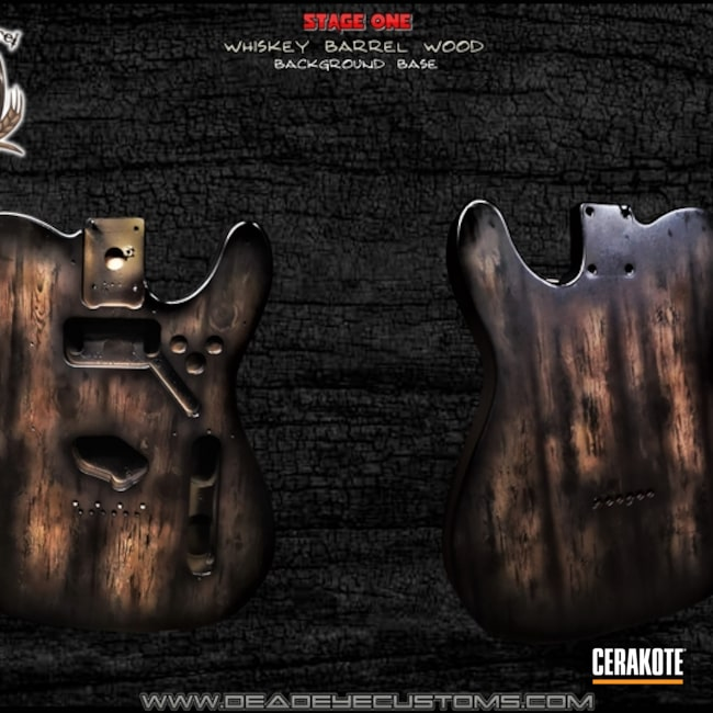 Electric Guitar Body Cerakoted Using Armor Black, Gen Ii Desert Sage And Chocolate Brown