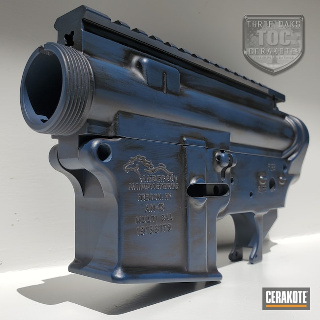 Cerakoted: S.H.O.T,Anderson,KEL-TEC® NAVY BLUE H-127,Armor Black H-190,5.56,AR Build,AR-15