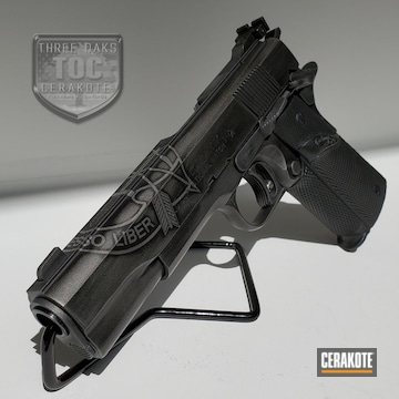 Colt 1911 Cerakoted Using Armor Black And Tactical Grey